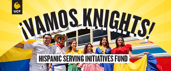 UCF Students with text: Vamos Knights