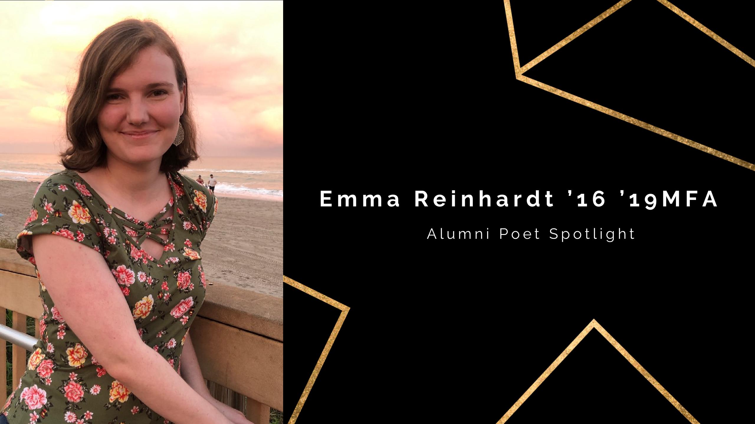 Black background with headshot of Emma Reinhardt '16 '19MFA