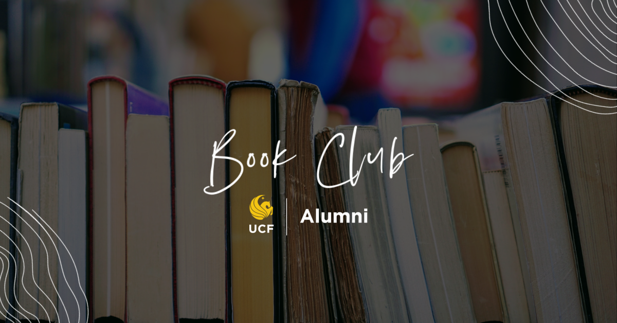 "photo of books with text on top that reads ""UCF Alumni Book Club"""