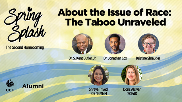 About the Issue of Race: The Taboo Unraveled promotional graphic with speaker headshots