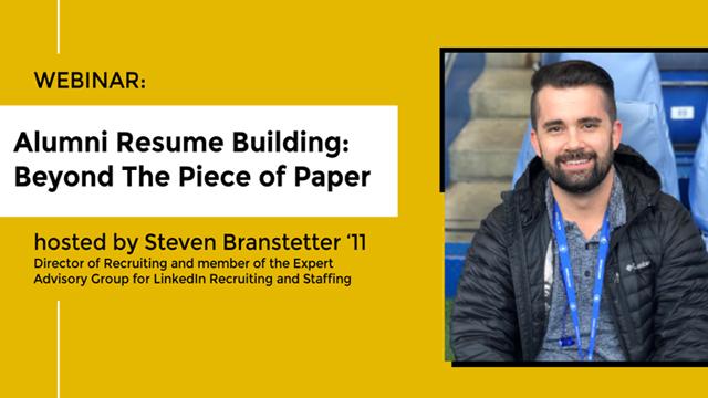 Alumni Resume Building promotional graphic with speaker headshot