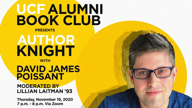 Author Knight with David James Poissant promotional graphic with author headshot