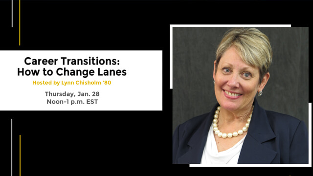 Career Transitions - How to Change Lanes promotional graphic with speaker headshot
