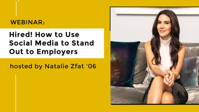Hired! How to use social media to stand out to Employers promotional graphic with speaker headshot