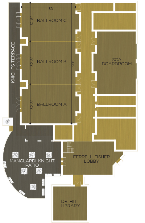 Layout of the FAIRWINDS Alumni Center showing available rental space