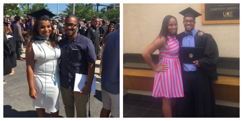 Photo collage from left to right: Destinee graduates UCF with Kendall by her side, Kendall graduates with Destinee by his side