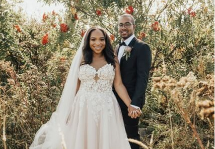 Wedding photo of UCF graduates Destinee and Kendall