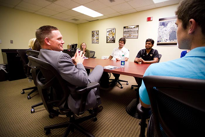 Alumnus Texas Instruments Executive Meets with Student-Athlete Engineers He's Committed to Support
