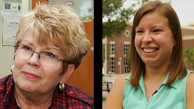 Last year, Nancy Ellis, '07 (left), and Sarah Goldman, '14 (right), were selected as Everyday Heroes by News 13  and Bright House Networks. On March 19, the two Knights were invited to a special Salute to Everyday Heroes luncheon,  recognizing all of the 2014 honorees. (Photo: News 13)