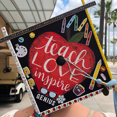 UCF Teach Love Inspire graduation cap
